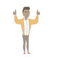 young african man standing with raised arms up vector image vector image