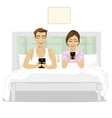 young couple in bed using their smartphones vector image