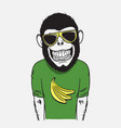 funny smiling monkey vector image