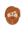 color crayon stripe cartoon of man face with beard vector image
