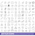100 plan icons set outline style vector image vector image
