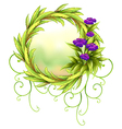 A round green border with violet flowers vector image vector image