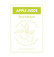 apple juice fresh and natural banner template vector image vector image