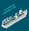 assembly line isometric background vector image vector image
