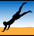 beach volleyball gamer digging for ball silhouette vector image