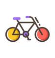 bicycle line color icon vector image vector image