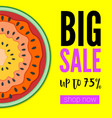 big sale bright banner with half past of vector image vector image