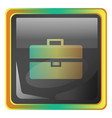 briefcase grey square icon with yellow and green vector image vector image