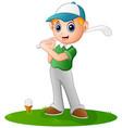 cartoon boy playing golf vector image