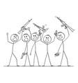 cartoon group soldiers or armed people vector image