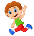 Cartoon little boy waving hand vector image vector image