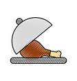 chicken or turkey thigh on tray food menu vector image