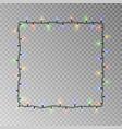 christmas lights square light string frame vector image vector image
