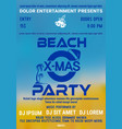 christmas party at the beach flyer template vector image vector image