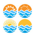 circles with sea or ocean water and summer sun vector image