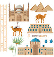 egypt architecture and symbol elements set vector image