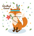 fox woodland animal with feather crown vector image vector image