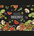 fresh food menu cover template hand vector image vector image