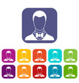 groom icons set vector image vector image