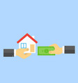 hand with money and hand with house sale of real vector image vector image