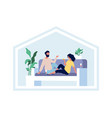 happy couple stay home domestic lifestyle vector image vector image