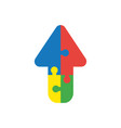 icon concept of four connected arrow jigsaw vector image