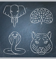 india chalkboard icons set in line style vector image