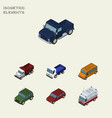isometric automobile set of lorry armored car vector image vector image