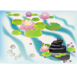 Lily blooming in the Japanese garden postcard vector image