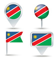 Map pins with flag of Namibia vector image vector image