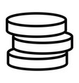 money coin stack icon with outline style vector image vector image