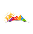 mountain puzzle with sun logo vector image vector image