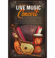 music concert poster of sketch instruments vector image vector image