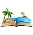 open book with group of cartoon surfing penguin on vector image