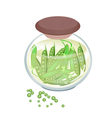 Pickled Sweet Green Pea in A Jar vector image vector image
