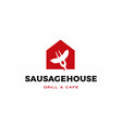 sausage house home restaurant cafe logo icon vector image