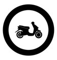 scooter black icon in circle vector image vector image