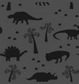 seamless pattern black dinosaur vector image