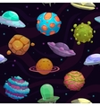 Seamless pattern with ufos and fantastic planets vector image