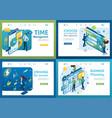 set isometric concepts time management success vector image