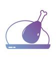 silhouette delicious chicken food roast taste vector image vector image