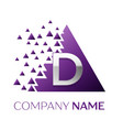 silver letter d logo in the purple pixel triangle vector image