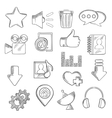 Social media and multimedia icons sketch style