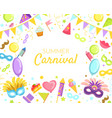 summer carnival banner template bright vector image