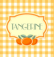 tangerine label in retro style on squared vector image vector image