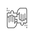 team solves a jigsaw puzzle line icon vector image