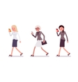 Three men are walking holding a smartphone vector image