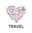 travel love set of icons vector image vector image