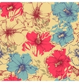 Tropical flowers seamless pattern Hibiscus vector image