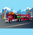 truck carrying new cars vector image